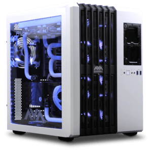 Custom gaming computer with a custom water loop cooling system